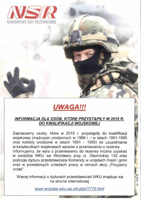 NSR - Informacja dla osób, które przystąpiły do kwalifikacji wojskowej w2015r.